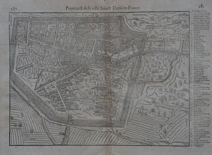 France, Saint Denis; Belleforest - Pourtraict de la ville Sainct Denis en France - 1561-1580