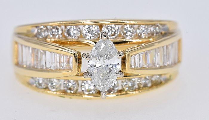 Yellow gold - Ring - 1.86 ct Diamond