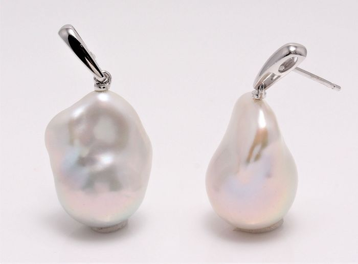 NO RESERVE PRICE - 14 kt. White Gold - 15x20mm Special Cultured Pearls - Earrings