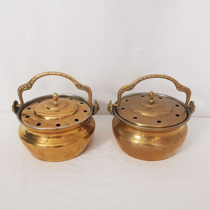 Two stews with lion heads - brass
