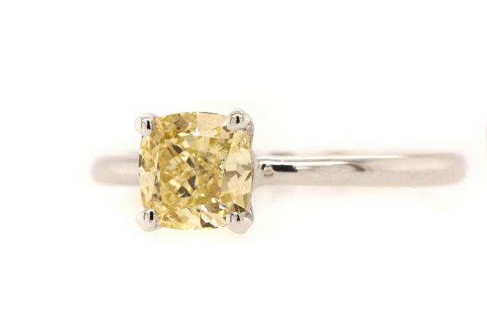 14 kt. White gold - Ring - 1.21 ct Diamond - Fancy Intense Yellow - VS2 - No Reserve Price