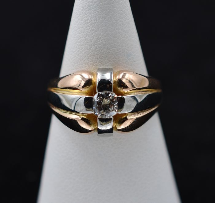 18 kt. White gold, Yellow gold - Ring - 0.29 ct Diamond
