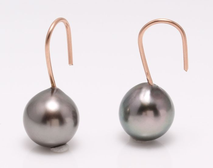 NO RESERVE PRICE - 18 kt. Rose Gold - 10x11mm Peacock Tahitian Pearl Drops - Earrings