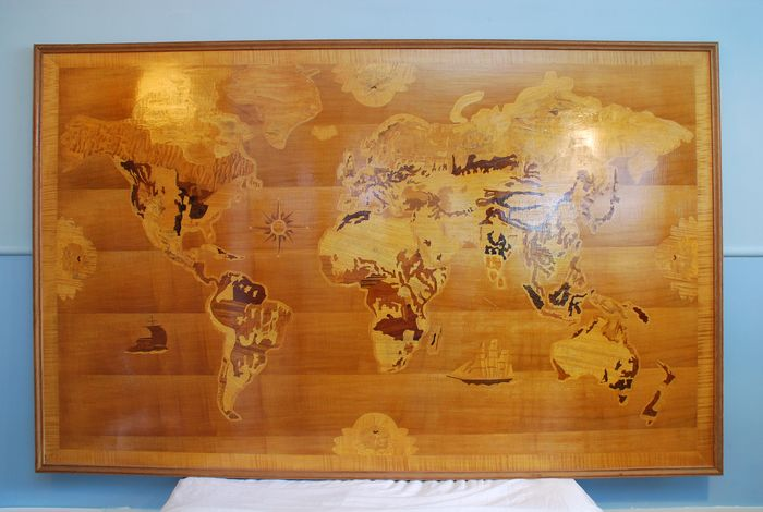 Wall unit, Marquetry world map