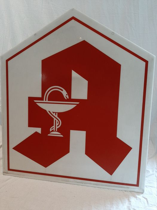 Set of 2 very large pharmacists facade signs - Asklepian and cross (2) - Hard plastic/perspex