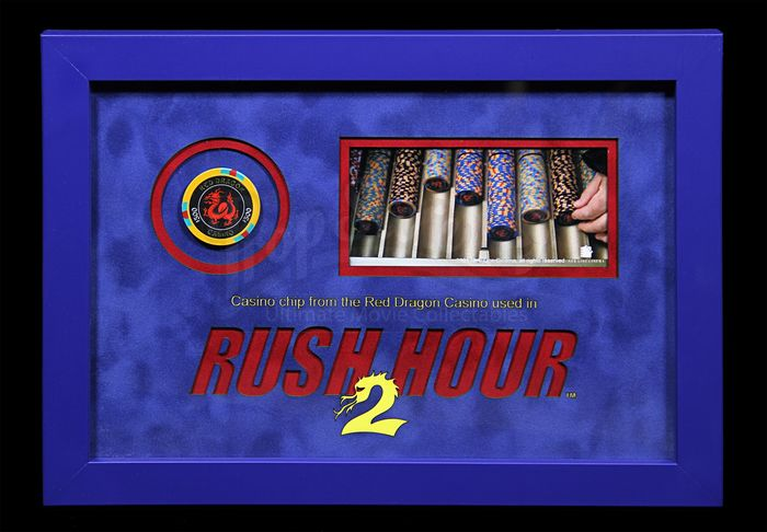 Rush Hour 2 - Jackie Chan  - Red Dragon Casino Chip - Framed Display 13889