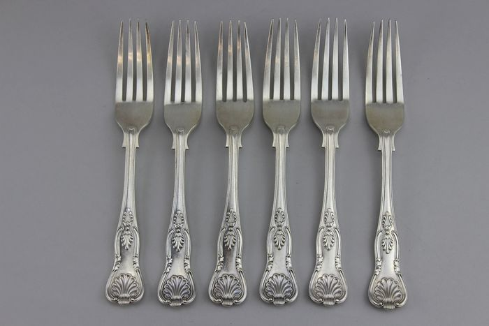Henry Hobson & Sons  - Antique/Vintage tableware set of 6 serving forks  - Silver plated
