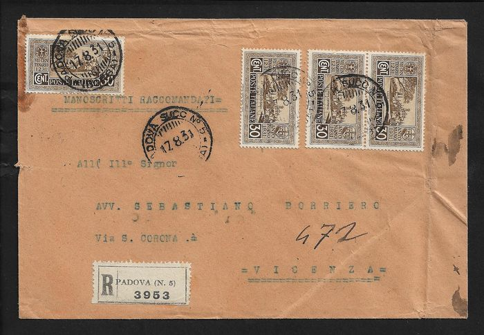 Italy Kingdom / Occupations - Lot of 7 stamped covers with commemorative, service and occupation stamps. - Sassone N° T17, T21, 357, 358, 364, 386, Stax T18 + altri