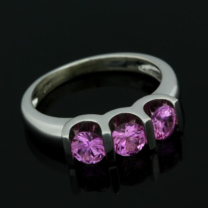 14 carats Or blanc - Bague - 2.75 ct Topaze Rose