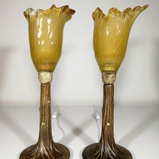 Pair on table lamps in brass and glass