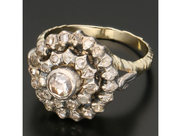 14 kt gold, silver - ring - 0.38 ct diamond