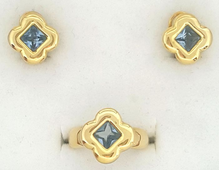 18 kt. Yellow gold - Earrings, Ring - 1.80 ct Topaz