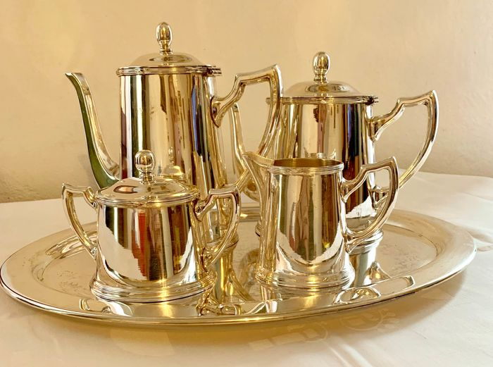 - - - - tea or coffee set with tray (5) - silver alpaca