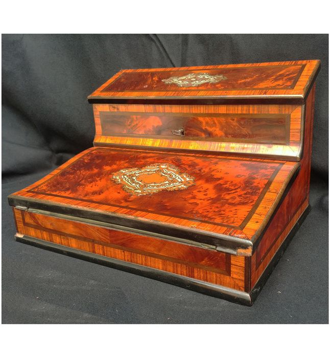 Travel, Boulle-style inlay, Letterbox - Napoleon III - Wood - Late 19th century
