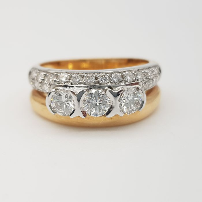 HRD no reserve price - 18 carats Or blanc, Or jaune - Bague - 0.65 ct Diamant - Diamants