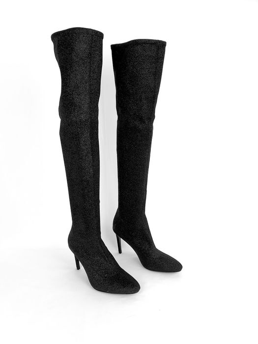 Giuseppe Zanotti - Black - metallic - New York Glitter High - Stiletto  knee boots - Size: FR 38