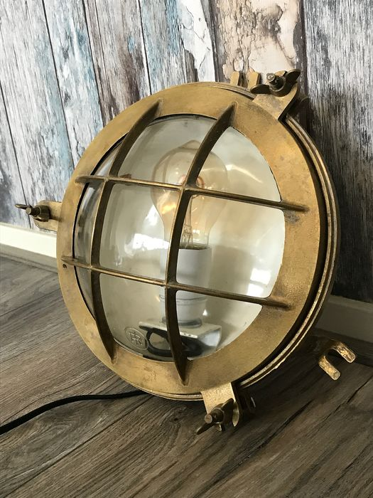 Ship's gangway lamp (1) - brass, copper, glass - first half 20th century