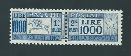 Italy Republic 1954 - Little horse 1,000 lire parcels with comb perforation - Sassone NN. 81/I