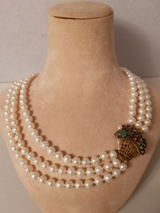 14 kt. Freshwater pearls, Gold, Silver, 5-7,5 mm - Necklace with pendant
