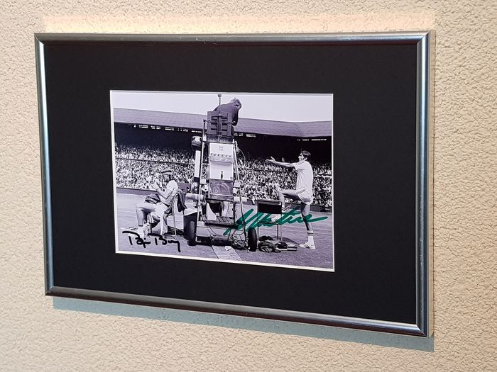 Tennis - Bjorn Borg and Ilie Nastase - Wimbledon rivals - hand signed framed photograph by both