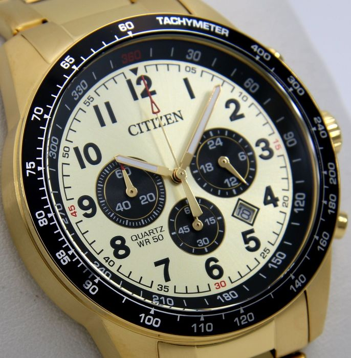 "Citizen - Chronograph Quartz Wr 50 ""Gold Tone"" - - ""NO RESERVE PRICE"" - - Férfi - 2011 utáni"