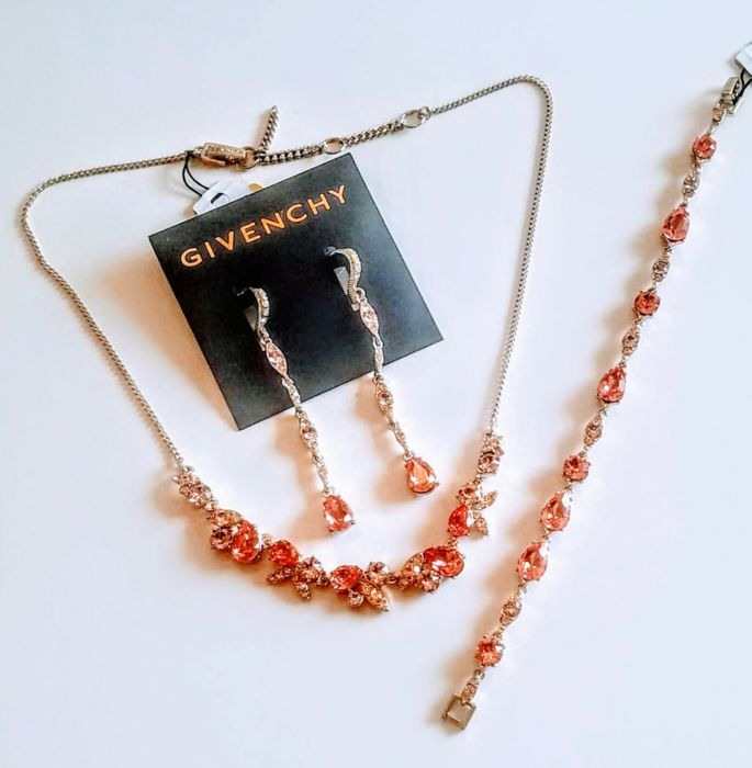 Givenchy Sparkly Necklace, Earrings and Bracelet Suite