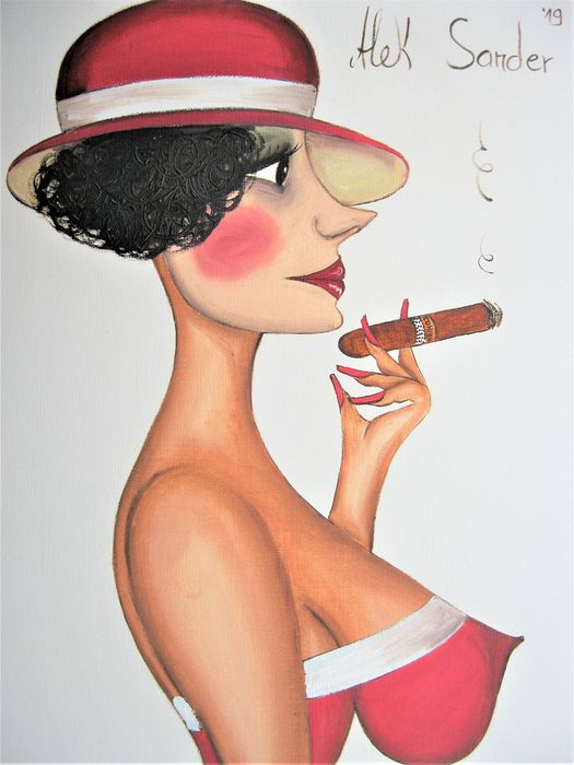 Alek Sander - Madame Cohiba with cigar and red hat.