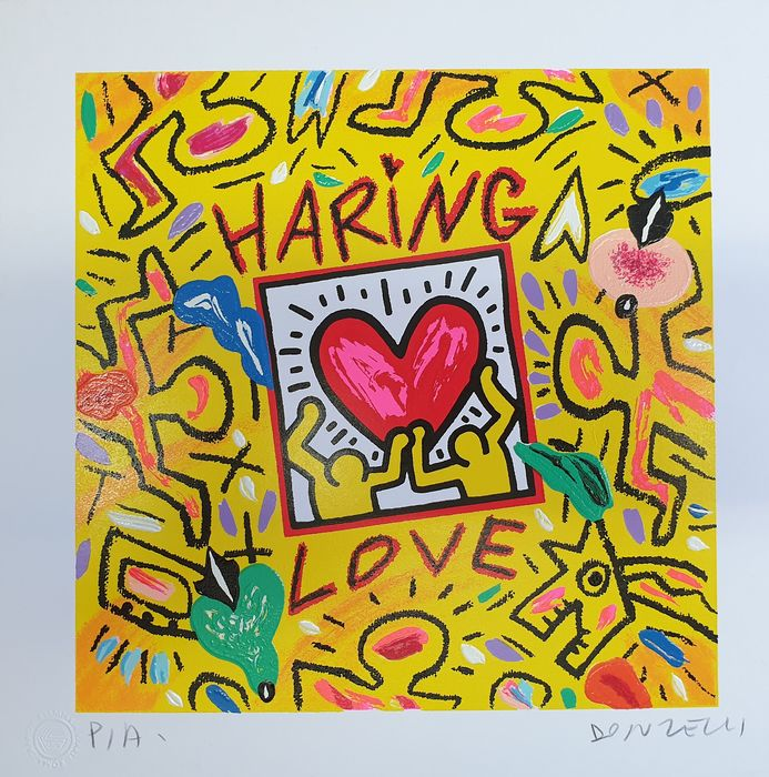 Bruno Donzelli due serigrafie materiche   - Haring Love - Roy Kiss