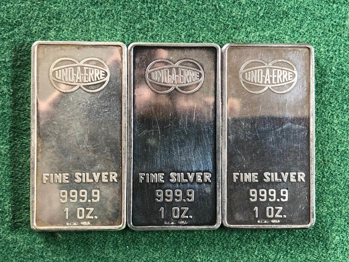 3 once  - Silber .999 - UNO A ERRE