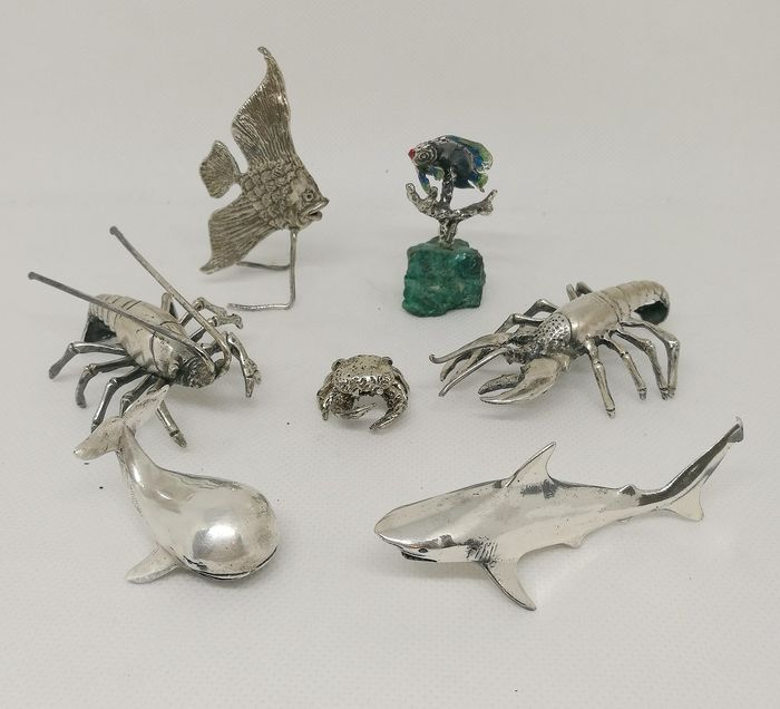 Fabulous Collection of Marine Animals (7) - .800 silver, .925 silver - Italy - mid 20th century