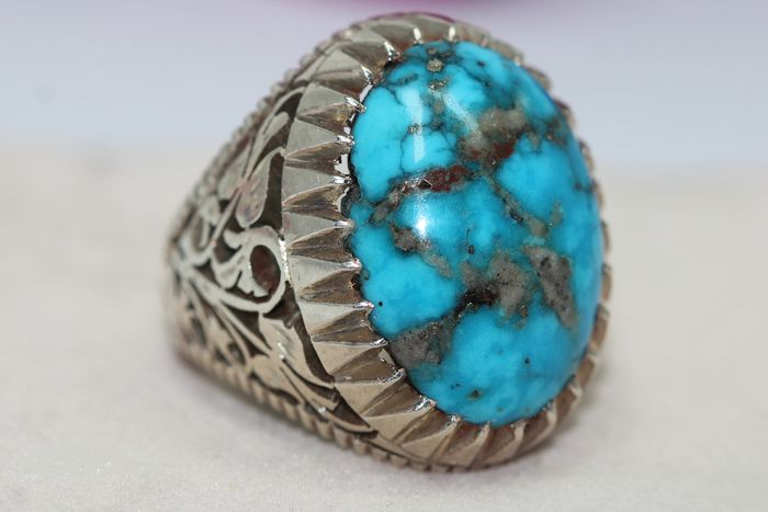 925 Zilver - Ring - 25.00 ct Turquoise