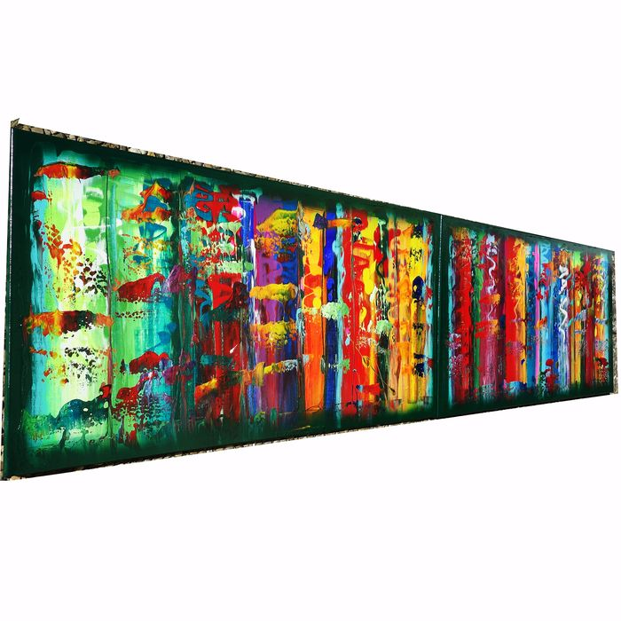 Ksavera - Rainbow Abstract A373 - diptych 50x200cm