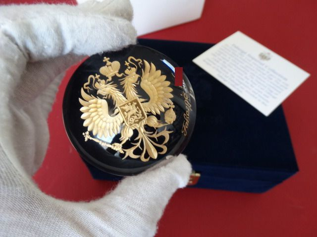 Imperial Romanov eagle numbered authentic - Fabergé - rare original - Crystal, hand engraved-24k gold finished