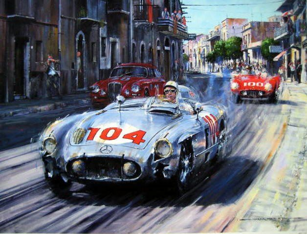 Fine Art Exclusiv Limited Giclee Print (Lim 55 Pcs) - Mercedes-Benz 300 SLR#104/Stirling Moss- Peter Collins  - Winner Targa Florio - 1955