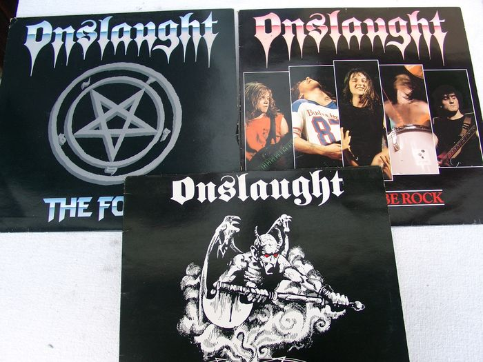 "Onslaught - Let There Be Rock / Power From Hell  / The Force - Multiple titles - LP's, Maxi single 12""inch - 1986/1988"