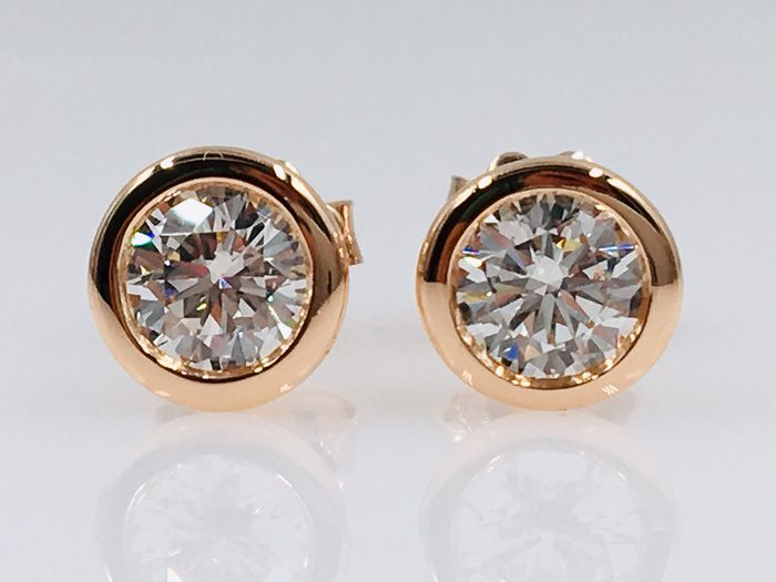 18 kt. Rose gold earrings - with 1.19ct diamonds, Without reserve price!