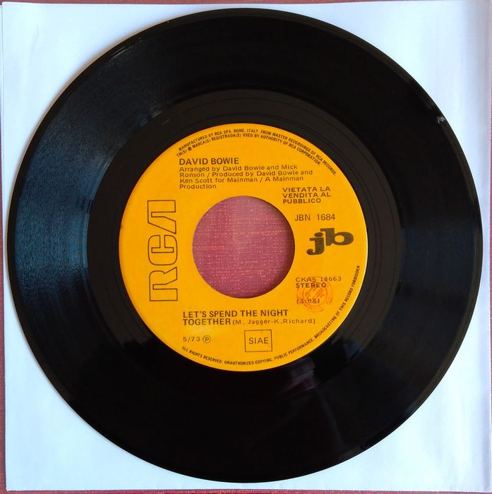David Bowie / Elvis Presley - Steamroller Blues / Let's Spend The Night Together - 45 rpm Single - 1973