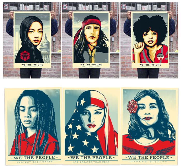 Shepard Fairey (OBEY) - We The People + We The Future Print (6 Original lithographs)