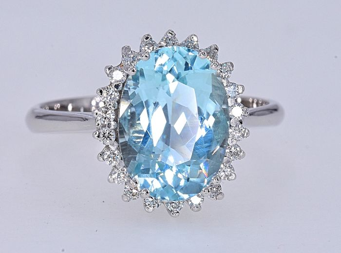 18 carats Or blanc - Bague - 2.94 ct GIA Paraiba - Diamants