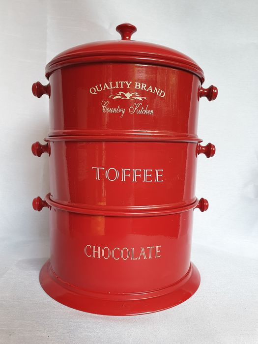 Quality Brand Country Kitchen - enamel red vintage stock ...