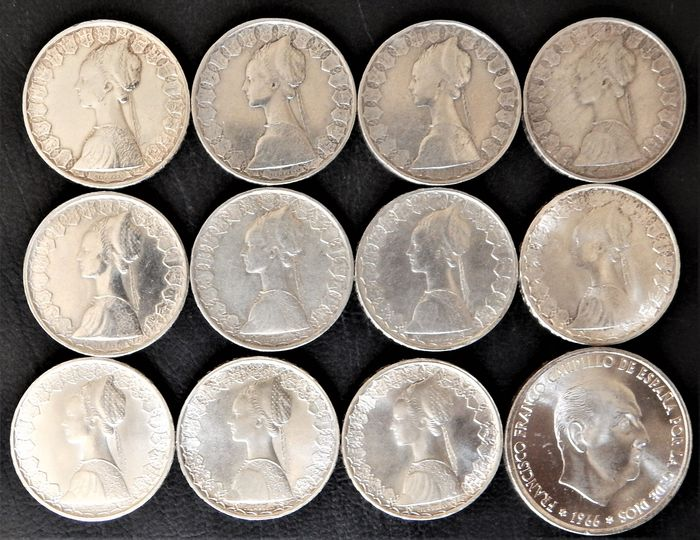 Italy, Spain - 500 Lire 1958(2), 1959, 1960, 1961, 1964,  1965, 1966, 1967, 1969, 1970 + 100 Pesetas 1966 *19-68 - Lot of 12 coins - Silver