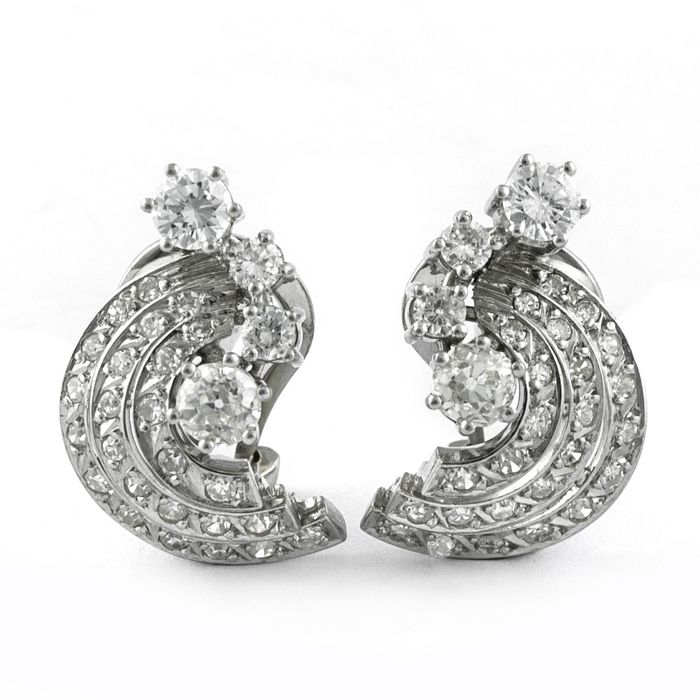 Exclusive Luxury - 18 kt. White gold - Earrings Diamond