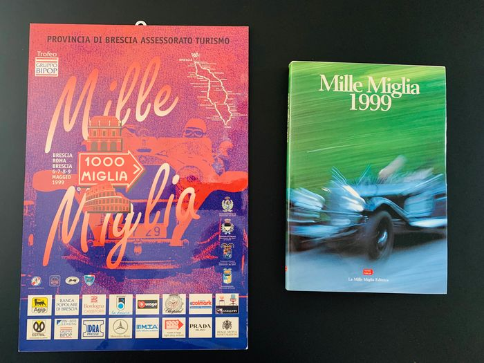 Original official poster with vintage event catalog - Mille Miglia - 1000 Miglia - manifesto in metallo originale  - 1995-1995
