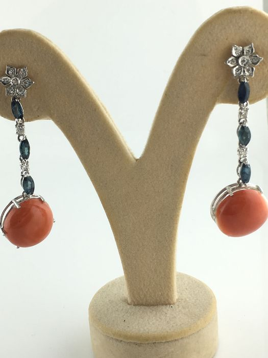 9 kt White gold - Earrings coral