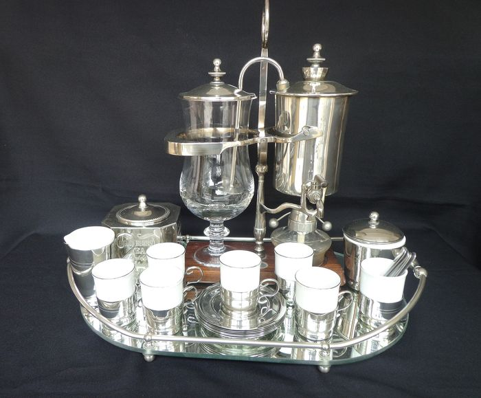 Beautiful silver-plated complete cafetiere / serving tray / 6-pers. mocha coffee service - Silver plated - Wood - Glass - Porcelain