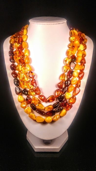 Mix colours Baltic amber - Necklace - Natural (untreated)