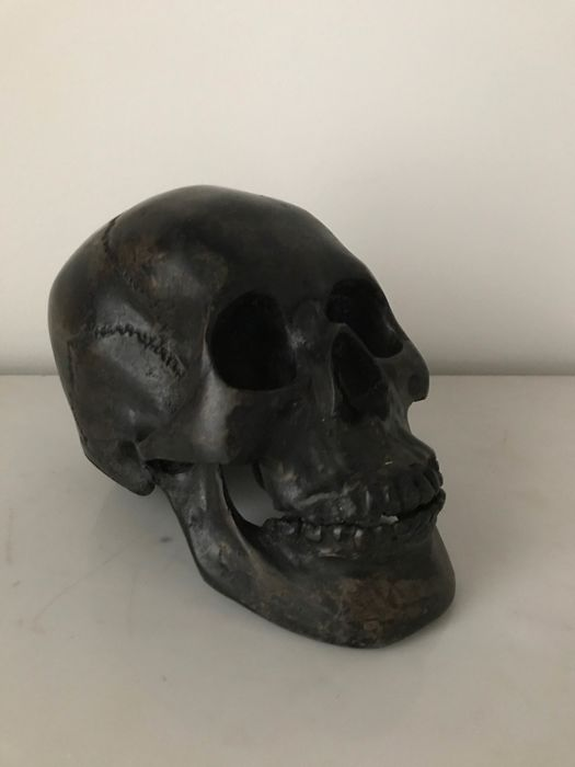 Rare sculpture of the human skull in natural size - Bronze
