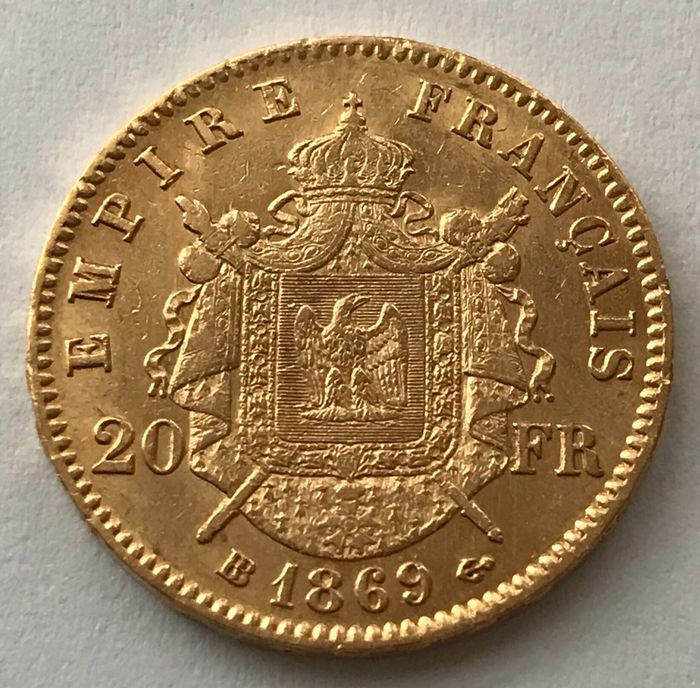 20 Francs 1869 BB - Napoleon III. - Or