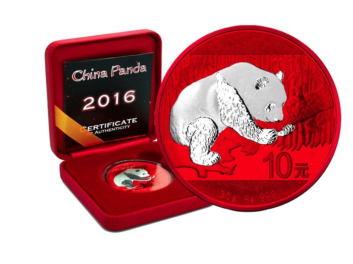 China - 10 Yuan 2016 Panda Space Red Edition in Box und CoA - Silver