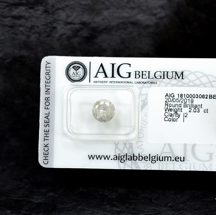 Diamant - 2.03 ct - Brillant - I - I2 - NO RESERVE PRICE